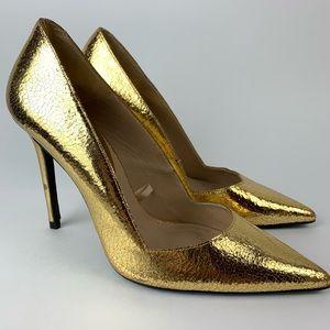 ZARA Crackled Gold Pointed Toe Pumps